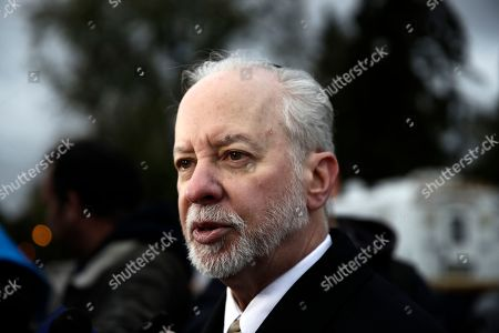 Stock Image of Rabbi Jeffrey Myers of the Tree of Life/Or L'Simcha Congregation stands across the street from the synagogue in Pittsburgh, . Tree of Life shooting suspect Robert Gregory Bowers is expected to appear in federal court Monday. Authorities say he expressed hatred toward Jews during the rampage Saturday and in later comments to police
