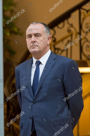 Stock Photo of New Agriculture Minister Didier Guillaume (R) stands next to former Agriculture Minister Stephane Travert.