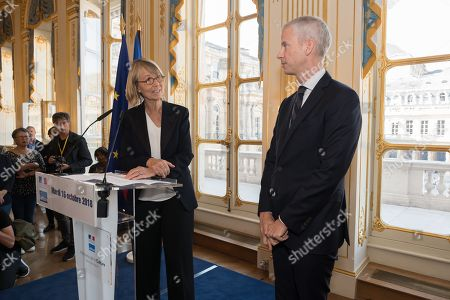 Former French Ministry of Culture Francoise Nyssen and new French Ministry of Culture Franck Riester.