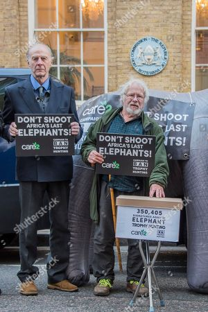 Sir Ranulph Fiennes, Bill Oddie and a life-size inflatable elephant with the slogan 'Ban Trophy Hunting' protest outside Botswana High Commission, deliver a letter addressed to the President and hand in a 250,000-strong petition. They are condemning plans to allow trophy hunters to kill elephants in the world's most important population as 'potentially disastrous'.