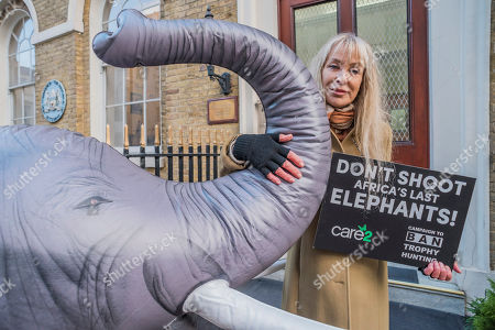 Carol Royle and a life-size inflatable elephant with the slogan 'Ban Trophy Hunting' protest outside Botswana High Commission, deliver a letter addressed to the President and hand in a 250,000-strong petition. They are condemning plans to allow trophy hunters to kill elephants in the world's most important population as 'potentially disastrous'.