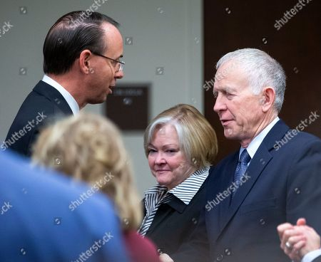 Deputy US Attorney General Rod Rosenstein (L) greets Judy (C) and Dennis (R) Shepard, the parents of Matthew Shepard at a law enforcement roundtable on improving the identification and reporting of hate crimes in Washington, DC, USA, 29 October 2018. Rosenstein announced the creation of a new hate crimes website at the Department of Justice. Matthew Shepard, a gay man, was killed in 1998.