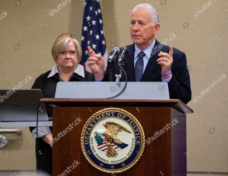 Dennis (R) and Judy (L) Shepard, the parents of Matthew Shepard, speak at a law enforcement roundtable on improving the identification and reporting of hate crimes in Washington, DC, USA, 29 October 2018. Deputy US Attorney General Rod Rosenstein announced the creation of a new hate crimes website at the Department of Justice. Matthew Shepard, a gay man, was killed in 1998.