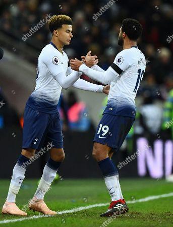 Dele Alli comes on for Mousa Dembele of Tottenham Hotspur