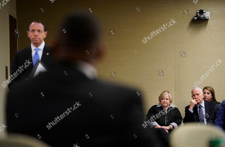 Rod Rosenstein, Dennis Shepard, Judy Shepard. Dennis Shepard, far right seated, and his wife Judy Shepard, wait to listen to Deputy Attorney General Rod Rosenstein, left, speak at a law enforcement roundtable on improving the identification and reporting of hate crimes at Department of Justice . Shepard's son, Matthew Shepard, was brutally murdered in 1998 and has come to symbolize the plight of the LGBTQ community in America