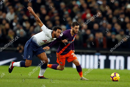 French President Emmanuel Macron and South Korean President Moon Jae-in attend a meeting at the Elysee Palace in Paris. Tottenham's Mousa Dembele, left, competes with Manchester City's Bernardo Silva during the English Premier League soccer match between Tottenham Hotspur and Manchester City at Wembley stadium in London, England