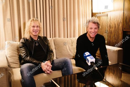 US founder and frontman of rock band Bon Jovi, Jon Bon Jovi (R) and keyborder David Bryan (L) smile during a press interview in New York, New York, USA, 29 October 2019. Bon Jovi will be back in Spain after six years in 2019 as part of the just announced European Tour that will visit countries as Russia, Estonia, Sweden, Norway, Holland, UK, Gerrmany, Denmark, Poland, Spain, Belgium, Austria, Switzerland, and Romania in a total of 18 cities.