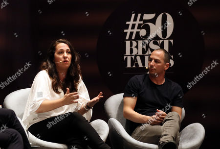 Argentinian chefs Narda Lepes (L) and Pablo Rivero (R) take part in a panel of 'Latin America's 50 Best Restaurants', in Bogota, Colombia, 29 October 2018. According to the chefs the planet needs to consume less meat, for which a responsible cuisine and finding new protein sources that do not destroy the environment is crucial.
