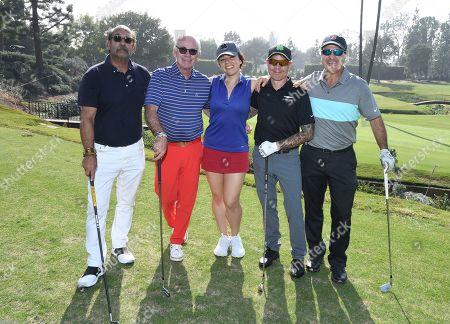 Stock Photo of Larry Stemerman, Marty Hackel, Daron O'Donnell, Robert Frank, Jackie Flynn. Larry Stemerman, from left, Marty Hackel, Daron O'Donnell, Robert Frank, Jackie Flynn attend the 19th Annual Emmys Golf Classic at the Wilshire Country Club on in Los Angeles