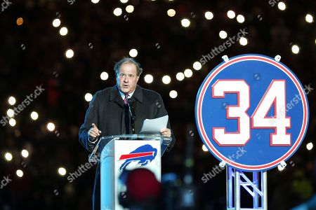 Chris Berman introducing Thurman Thomas during halftime of the Monday Night Football game between New England Patriots and Buffalo Bills. Thurman Thomas had his number 34 retired, in Orchard Park, NY