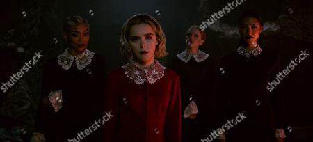 Tati Gabrielle as Prudence, Kiernan Shipka as Sabrina Spellman, Abigail Cowen as Dorcas, Adeline Rudolph as Agatha