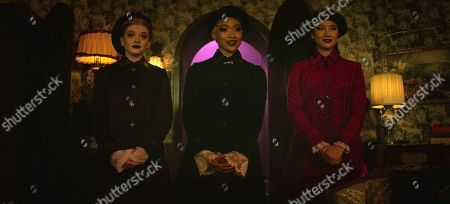 Abigail Cowen as Dorcas, Tati Gabrielle as Prudence, Adeline Rudolph as Agatha
