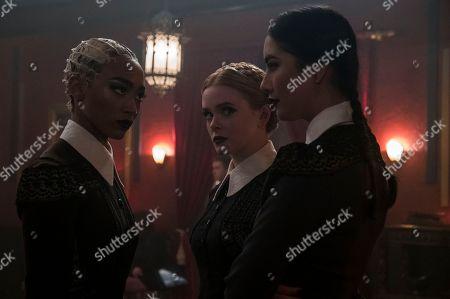 Tati Gabrielle as Prudence, Abigail Cowen as Dorcas, Adeline Rudolph as Agatha