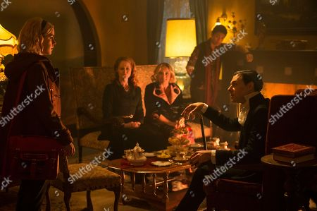 Kiernan Shipka as Sabrina Spellman, Miranda Otto as Zelda Spellman, Lucy Davis as Hilda Spellman, Chance Perdomo as Ambrose Spellman, Richard Coyle as Father Faustus Blackwood
