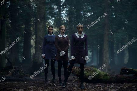 Adeline Rudolph as Agatha, Abigail Cowen as Dorcas, Tati Gabrielle as Prudence