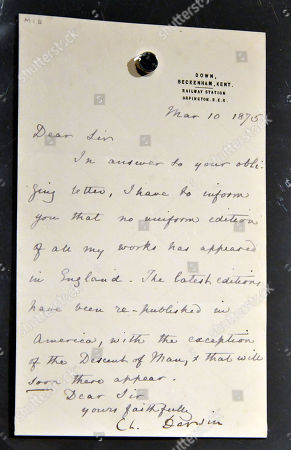 Stephen Hawking's signed Charles Darwin letter, 10 March 1875, estimate £1,200-1,800