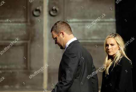 Pittsburgh Steelers' Ben Roethlisberger walks from Rodef Shalom Congregation during the funeral services for brothers Cecil and David Rosenthal, in Pittsburgh. The brothers were killed in the mass shooting Saturday at the Tree of Life synagogue