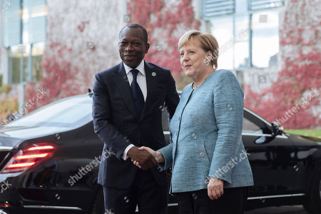 German Chancellor Angela Merkel receives President of Benin Patrice Talon (L) in Berlin, Germany, 30 October 2018. German Chancellor Angela Merkel received all the countries participating to the G20 Compact with Africa summit. It was initiated to promote private investment in Africa and infrastructure.