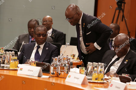 President of Benin Patrice Talon (L) and President of Ghana Nana Akufo-Addo (R) during the G20 Compact with Africa (CwA) conference at the German Chancellery, within the frame of the G20 Investment Summit, in Berlin, Germany, 30 October 2018.