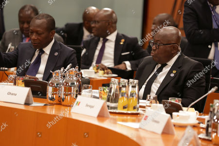 President of Benin Patrice Talon (L) and President of Ghana Nana Akufo-Addo during the G20 Compact with Africa (CwA) conference at the German Chancellery, within the frame of the G20 Investment Summit, in Berlin, Germany, 30 October 2018.