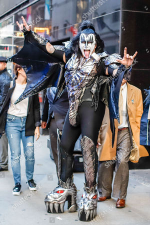Tommy Thayer, Paul Stanley, Gene Simmons and Eric Singer of the American band Kiss are seen leaving a studio on a television show on Manhattan Island in New York in the United States on Tuesday.