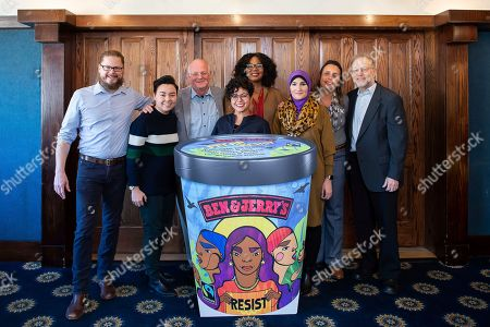 Ben & Jerry's launches Pecan Resist today to support groups working for justice, in Washington. Pictured from left, Matthew McCarthy, Ben & Jerry's CEO; Dani Marrero Hi, Neta; Ben Cohen, Ben & Jerry's Co-Founder; Favianna Rodriguez, artist-activist; Brandi Collins-Dexter, Color Of Change; Linda Sarsour, Women's March; Winona LaDuke, Honor the Earth; Jerry Greenfield, Ben & Jerry's Co-Founder