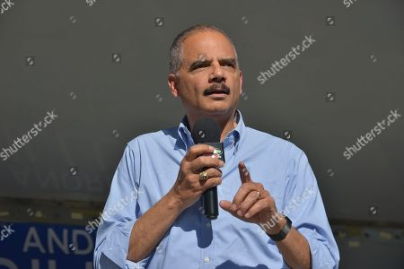 Former Attorney General Eric Holder holds an early voting grassroots rally for Florida Democratic gubernatorial nominee, Tallahassee Mayor Andrew Gillum at Parking lot of African American Research Library