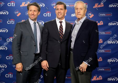 Brodie Van Wagenen, Jeff Wilpon, Fred Wilpon. New York Mets COO Jeff Wilpon, left, majority owner Fred Wilpon, right, and new general manager Brodie Van Wagenen pose for photographs during an introductory news conference, in New York