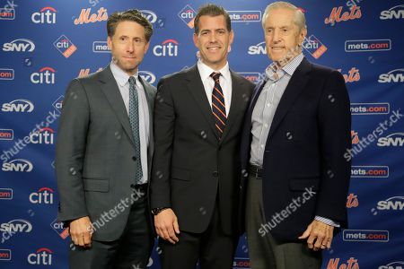 Brodie Van Wagenen, Jeff Wilpon, Fred Wilpon. New York Mets COO Jeff Wilpon, left, majority owner Fred Wilpon, right, and Brodie Van Wagenen pose for photographs during a news conference to announce the New York Mets new General Manager, in New York