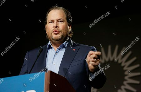 Salesforce CEO Marc Benioff speaks at a SPUR luncheon in San Francisco. Benioff spoke about the responsibility of businesses and leaders to their local communities, including solving the homelessness crisis in San Francisco and beyond. Benioff supports a measure on San Francisco's Nov. 6 ballot would levy an extra tax on hundreds of the city's wealthiest companies to raise $300 million for homelessness and mental health services. SPUR is is a non-profit research, education, and advocacy organization focused on issues of planning and governance in San Francisco, San Jose and Oakland