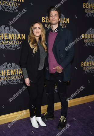 "Breezy Douglas, Dallon Weekes. Musician Dallon Weekes and wife Breezy Douglas attend the premiere of ""Bohemian Rhapsody"" at The Paris Theatre, in New York"