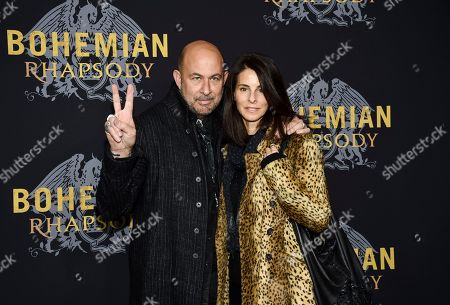 "Stock Image of John Varvatos, Joyce Zybelberg Varvatos. Designer John Varvatos and Joyce Zybelberg Varvatos attend the premiere of ""Bohemian Rhapsody"" at The Paris Theatre, in New York"