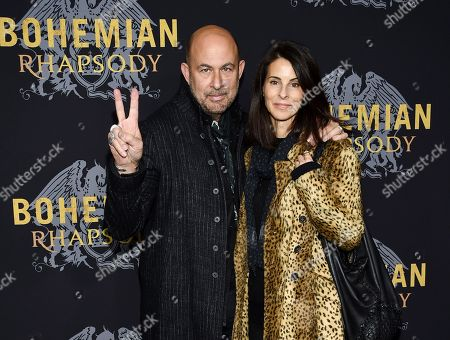 "John Varvatos, Joyce Zybelberg Varvatos. Designer John Varvatos and Joyce Zybelberg Varvatos attend the premiere of ""Bohemian Rhapsody"" at The Paris Theatre, in New York"