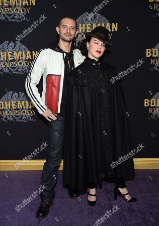 """Stock Picture of Gabriele Corcos, Debi Mazar. Actress Debi Mazar and husband Gabriele Corcos attend the premiere of """"Bohemian Rhapsody"""" at The Paris Theatre, in New York"""