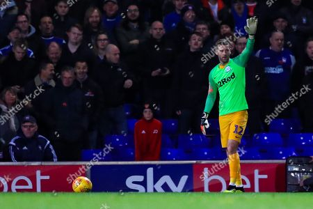 Paul Gallagher (12) of Preston acts as stand in goalkeeper after Chris Maxwell is sent off.