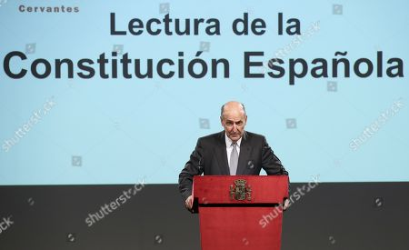 Miquel Roca, one of the 'fathers' of the Constitution, reads an extract of the Spanish Constitution at the Cervantes Institute in Madrid, Spain, 31 October 2018. Princess Leonor, who celebrates her 13th birthday, read article 01 of the Spanish Constitution on her first official act held on occasion of the 40th anniversary of the Constitution.