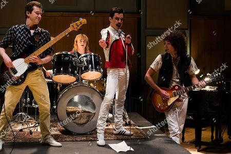 Joe Mazzello as John Deacon, Ben Hardy as Roger Taylor, Rami Malek as Freddie Mercury, Gwilym Lee as Brian May