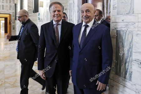 Stock Photo of Italian Foreign Minister Enzo Moavero Milanesi (L) meets with President of the Libyan House of Representatives Aguila Saleh Issa (R) in Rome, Italy, 31 October 2018.