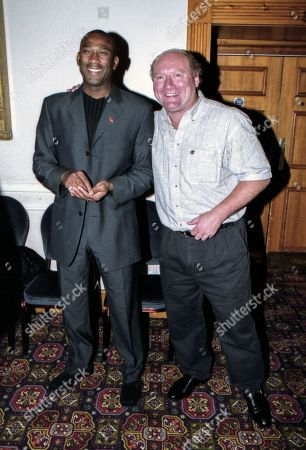 Scottish broadcaster and former football player Alan Brazil and friend, attend The Bobby Moore fund for imperial cancer research UK charity event, at The Whitbread brewery in East London