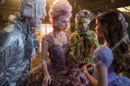 Richard E. Grant as Shiver, Keira Knightley as Sugar Plum, Eugenio Derbez as Hawthorne, Mackenzie Foy as Clara