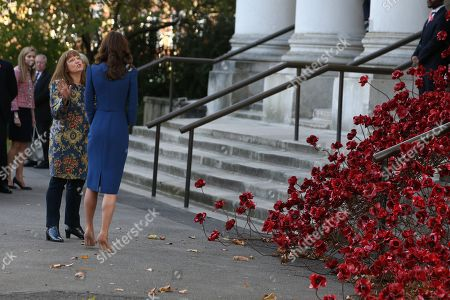 Catherine Duchess of Cambridge with the 'Poppies: Weeping Window' artwork by Paul Cummins and Tom Piper