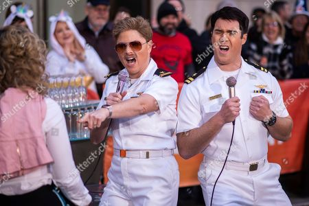 """Jenna Bush Hager, Peter Alexander. Jenna Bush Hager, left, and Peter Alexander dress as characters from """"Top Gun"""" during the """"Today"""" show Halloween celebration at Rockefeller Plaza, in New York"""