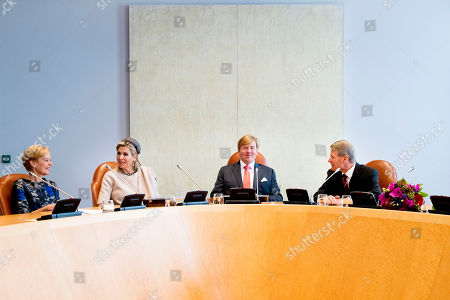 Stock Photo of King Willem-Alexander, Queen Maxima and Piet Hein Donner Extraordinary meeting of the Council of State, The Hague, The Netherlands