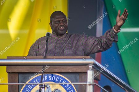 South Sudan's opposition leader Riek Machar speaks at peace celebrations in the capital Juba, South Sudan . For the first time since fleeing South Sudan more than two years ago, opposition leader Riek Machar returned on Wednesday to take part in a nationwide peace celebration