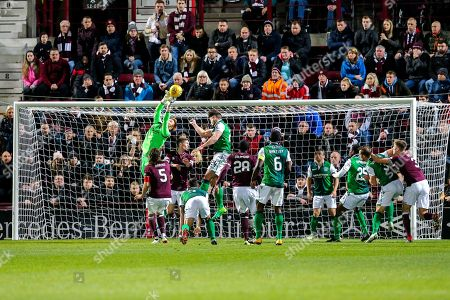 Adam Bogdan (#31) of Hibernian comes off his goal line to push the ball clear from a corner during the Ladbrokes Scottish Premiership match between Heart of Midlothian and Hibernian at Tynecastle Stadium, Gorgie