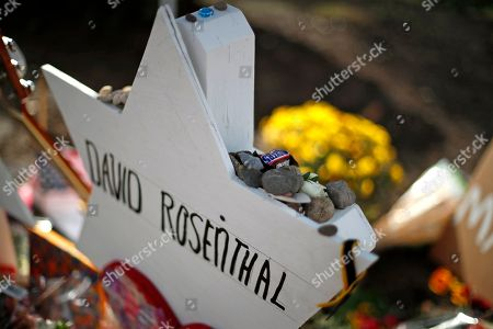 Stock Photo of This is a memorial to David Rosenthal,, part of a makeshift memorial outside the Tree of Life Synagogue to the 11 people killed during worship services Saturday Oct. 27, 2018 in Pittsburgh