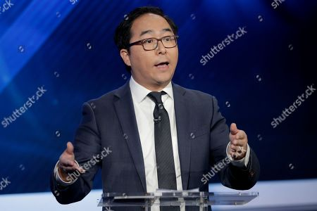Andy Kim, the Democratic candidate in the U.S. Congressional District 3 race, speaks during a debate against Republican candidate Tom MacArthur, in Newark, N.J
