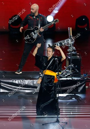 Stock Image of The Mexican band Cafe Tacuba performs during the Lunas del Auditorio Nacional awards ceremony in Mexico City