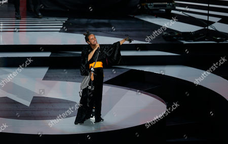 Stock Photo of Ruben Albarran, lead singer of the Mexican band Cafe Tacuba performs during the Lunas del Auditorio Nacional awards ceremony in Mexico City