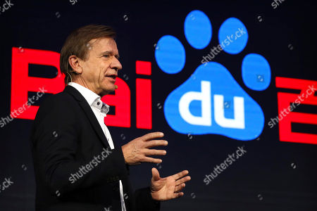 Stock Picture of Volvo Cars CEO Hakan Samuelsson speaks during the 2018 Baidu World conference in Beijing, . Chinese technology company Baidu announced on Thursday that it is partnering with Swedish carmaker Volvo to develop electric cars with autonomous-driving capabilities